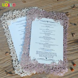 White Rose Card Wedding NZ - DIY customzied 50pcs inc34 Laser Cut Wedding invitations Card rose glitter paper rose gold menu Card stick buckle Party Favors