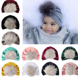 Baby Boy Skull Crochet Beanies Australia - 2018 kids fall winter hats wholesale christmas fur pom poms hat baby velvet beanies bonnet girls indians muslim turban skull cap 11colors