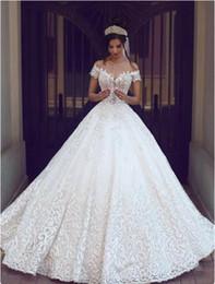 $enCountryForm.capitalKeyWord NZ - Off-Shoulder Lace Ball Gown Wedding Dresses Short Sleeve Wedding Dress Bridal Gowns Plus Size Wedding Dress Court Train robe de mariée
