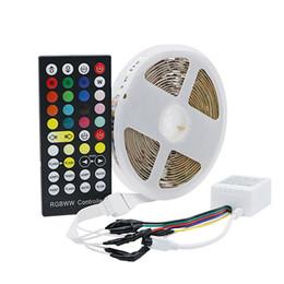Smd Chips Australia - DC12V 24V 5050 SMD 5 color in 1 LED Chip Flexible LED Strip light RGB+Cool White+Warm White 60Leds m With 40 key controller
