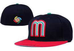 b2c19e6ad1d National Team Mexico Fitted hats Baseball Embroidered Team Letter Flat Brim  Hats Baseball Size Caps Brands Sports Chapeu for men and women