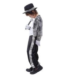 75d95245fcc Boys Halloween Costume Michael Jackson Billie Jean Child Fancy Dress  Costume Kids Performance Clothing dance wear sets