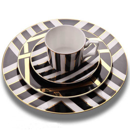Gold Wholesalers China Australia - Dinner plate sets gold inlay bone china food plates ceramic dishes dinnerware sets steak plate pack of 4