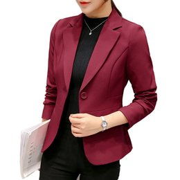 blazers suits elegant women UK - Women's Suits & Blazers Jacket Formal Suits Coat for Business Long Sleeve Fahion Outwear Maroon Female Casual Jackets Elegant 2
