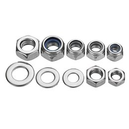 m6 kit UK - 255pcs Stainless Steel Nylon Lock Nuts Full Nuts Washers Kit M4 M5 M6
