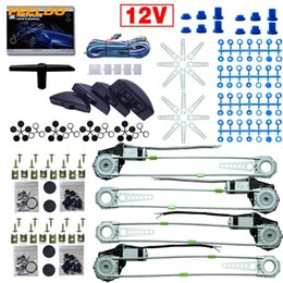 universal power windows UK - FEELDO Universal Car Auto 4 Doors 8pcs Set Moon Swithces with Harness Cable Electronice Power Window kits DC12V #3754