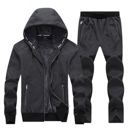 gym jogging suit men Canada - Wholesale-Warm Winter Sport Suits Men Hoodies Sets 7XL 8XL Big Size Mens Gym Sportswear Fleece Fabric Running Jogging Suit Male Tracksuit