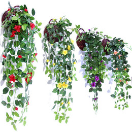 fake vines decoration UK - Simulation Artificial Hang Baskets Flower Fake Rose Vines Wedding Wall Hanging Living Room Balcony Home Decoration 10 35mh ff