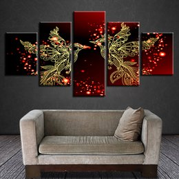 Art Canvas Prints Australia - Modular Painting Home Decor Framework HD Print Canvas 5 Pieces Red And Gold Love Birds Pictures Bebroom Romantic Wall Art Poster