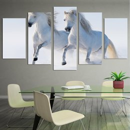 Background Prints Australia - New Style Canvas Painting 5 Panel Animal White Horse Prints Bedside Background Home Decor Wall Art Modular Picture Poster Hang