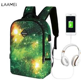 Starry Sky Backpack NZ - Laamei Starry Sky Backpack Women Shoulder Bag USB Headset Charging Business Travel Student Bag Multi-function Backpacks