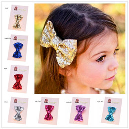Valentine hair online shopping - Bling Hair Accessories Girls Gold Clips Casual Hair Clip Baby Girl Hair Bows Sequin Bows Valentine Bows