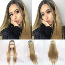 blonde wig lace front silky straight 2019 - Free shipping 2 tones silky straight wig ombre blonde Heat resistant Synthetic lace front wigs for women 180% density he