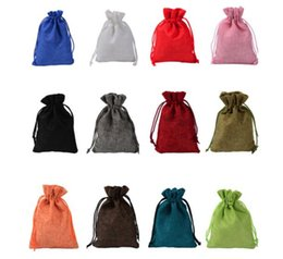 Small drawString linen bag online shopping - Jute Bag Mini Pouch Linen Hemp Small Drawstring Bags Ring Necklace Jewelry Pouches Wedding Favors Gift Packaging Bags