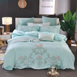 elegant queen size bedding sets 2019 - Elegant embroidery Bedding Set green pink jacquard Duvet Cover Set Queen King Size 4pcs Bedclothes cheap elegant queen s