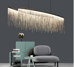 light up pendant 2019 - Modern luxury decorative led chandelier Nordic tassel restaurant hotel droplight engineering chain living room art penda