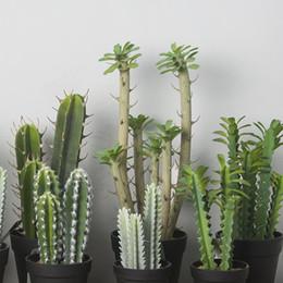 quality fake plants 2019 - Wholesale-25cm Artificial Cactus Succulents Unpotted Quality Fake Plastic Flower Arrangements Cacti Faux Succulents Plan