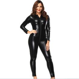 venda por atacado Mulheres negras Zip Para Virilha Manga Comprida Catsuits Brilhante PVC Bodysuits De Couro De Vinil Fullbody Romper Wetlook Macacões Zentai