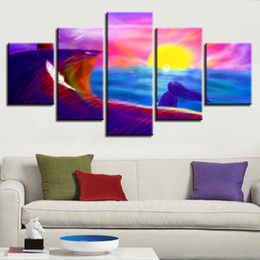 girls rooms decor UK - Poster Printed Decor Living Room Wall 5 Pieces Cartoon Girl Ship Sun And Feather HD Canvas Pictures Modular Paintings Framed Art