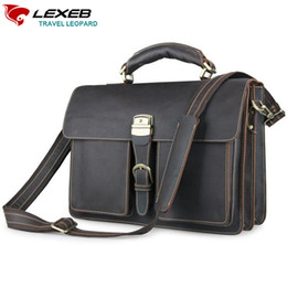 Messenger Bags For Men Leather Canada - LEXEB Dark Messenger Post Men Bag Vintage Full Grain Crazy Horse Leather Briefcase For 15.6 Inch Laptop High Quality Casual Tote