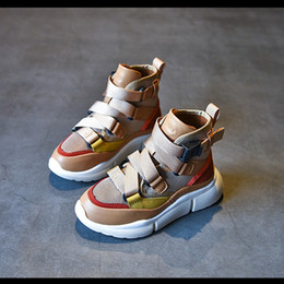 Short loop online shopping - Fashion kids sneakers boys net breastabler ribs ankler sport shoes girls cross bind non slip casual shoes fashion children short boots F0672