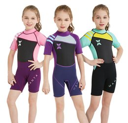 $enCountryForm.capitalKeyWord Canada - 2018 New children swimwear 2.5MM girls short sleeve siamese warmer diving suit high quality kids letter printed sporting swimsuits R2650