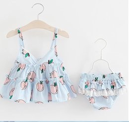 $enCountryForm.capitalKeyWord Canada - Cheap Little Girls Apple Braces Tops+Lace Pants Set 2019 Summer Kids Boutique Clothing Cute Baby Girls 2 PC Outfits