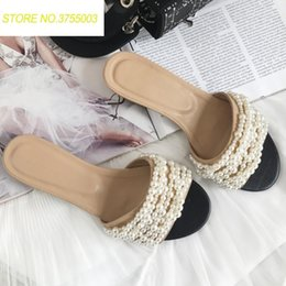 6e164a8f4 2018 Fashion Design Pearl Beading Women Slippers Sweet Summer Sandals Women  Casual Flats Slip On Outside Slides Sandalias Mujer