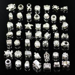 Branelli allentati del foro del grande foro di stile della miscela per il braccialetto dei monili di DIY di Pandora per la collana europea C5570 del braccialetto