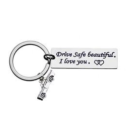$enCountryForm.capitalKeyWord UK - Hand Stamped Keychain Cars Keyfob Drive safe Beautiful I Love You Car Tag Charm Keyring Key Chain Lover Girlfriend Wife Gifts