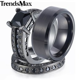 Tungsten Ring Women Cz Australia - whole saleLover Gifts Couple Wedding Band Ring Set for Women Men Paved Square Black Cubic Zirconia CZ Gold Filled Tungsten Size 6-13 GR29