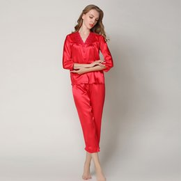 Ladies siLk nightgowns Long online shopping - Silk Pajamas Sets Red Women Ladies Sexy Long Sleeve Tops Pants plus size Home Clothing Sleepwear pink