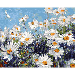 China Frameless White Flowers Diy Painting By Numbers Modern Wall Art Picture Acrylic Paint Unique Gift For Home Decor 40x50cm Artwork suppliers