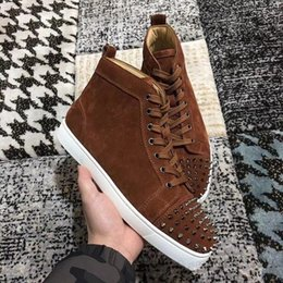 Shoe Laces Brown 36 Australia - New mens womens high top brown, black suede red bottom casual shoes,fashion spikes gentleman designer lace-up sneakers size 36-46