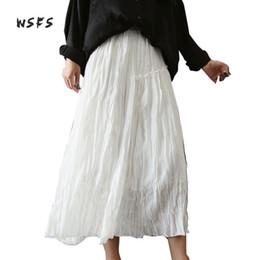 Discount wrinkle skirt - Wsfs Summer Cotton Linen Skirt Black White Elastic Waist Ruffles Wrinkle Long Skirts Womens Casual Midi Asymmetrical Ali