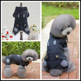 Discount black hair costumes Discount Autumn Winter Pet Dog Clothes Black Jean Four Legs Dog Coats Puppy Dog Jacket Costume Size S-XXL For Teddy Chihuahua Pet Product