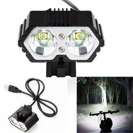 $enCountryForm.capitalKeyWord NZ - 6000LM 2 X CREE XM-L T6 LED USB Waterproof Lamp Outdoor Sport Mountain Bike Bike Bicycle Headlight
