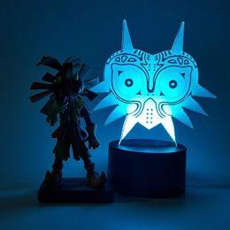 Skull Kid Figure Australia - The Legend of Zelda 3D Table Lamp Action Figure Skull Kid Majoras Mask 3D Visual Illusion LED RGB USB Nightlight
