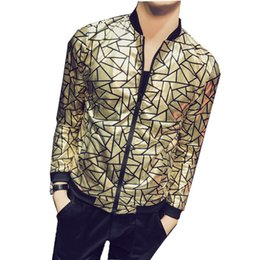 d0f69840a326e 2018 Gold Shinny Bomber Jacket Men Thin Sunscreen Clothing Men Club Party  Prom Outfit Plus Size 5xl Black Gold Jacket