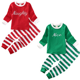 $enCountryForm.capitalKeyWord UK - Toddler Kids Baby Boy Girl Clothes Long Sleeve Cotton T-shirt Tops + Striped Pant 2PCS Home Wear Sleeping Costume Pajama Set