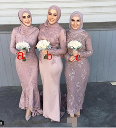 China Three Styles 2018 Newest Arabic Long Bridesmaid Dresses Long Sleeve Mermaid Gorgeous Evening Prom Dress Gowns With Lace Applique Bead Cheap supplier cheap three floor dress suppliers
