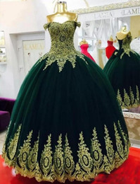 $enCountryForm.capitalKeyWord Australia - 2019 Arabic Appliques Off-shoulder Evening Dresses Sleeveless Black Girls Formal party Gowns Quinceanera Ball Gown