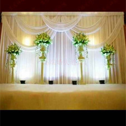 new wedding backdrop curtain 2021 - New Pattern Background Satin Curtain Wedding Party Stage Decoration Veil Classic Yarn Ceiling Backdrop Hot Sale 280gd Ww