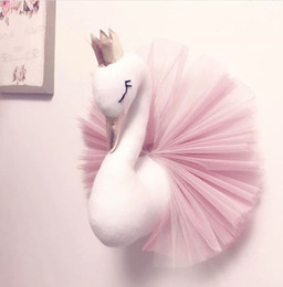 Wholesale INS Baby Room Decorate Cute Crown Swan Wall Hanging Decoration 2018 Fashion Cartoon Animal Lace Design for Children Room C5296