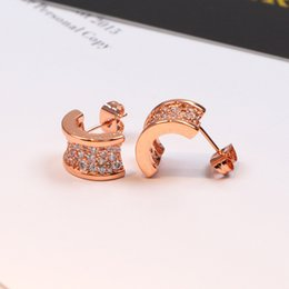 Discount original gold earrings - Semi-circle Ear stud with full CZ diamond Earring female women with original box set Free shipping