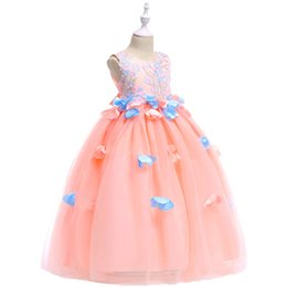baby girls formal wear UK - New Arrival Pretty Flower Girl Dresses Baby Girl Kids Formal Wear Infant Dress pearls flowers little dresses 2018