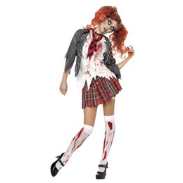 Chinese  Women Girl Halloween Horror Zombie Bloody High School Student Uniform Costumes Outfits manufacturers