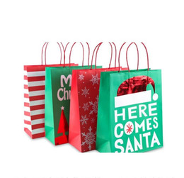 $enCountryForm.capitalKeyWord Australia - Christmas series kraft paper bag NO.4 with handle for gift prents clothes packing mini order 3 dozens (4 design mixed) free shipping by DHL