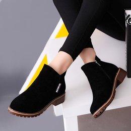Venta al por mayor de Tacones tobillo de las mujeres botas cortas botas de Martin gruesos Zapatos Botas Mujer de la manera con fino terciopelo para la primavera otoño y del invierno