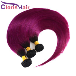 cheap ombre purple hair weave 2019 - Two Tone 1B Purple Ombre Weave Silky Straight Virgin Malaysian Human Hair Bundles Cheap Dark Roots Black Purple Ombre Ha